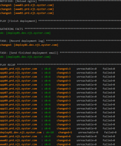 Screenshot of our Ansible-based deployment